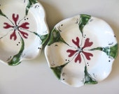 Bowl, flower dish, jewelry holder, candle tray,  White, Dark Pink, Green Glaze, handmade pottery, In Stock