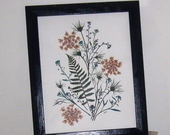 Floral, Pressed flower art in blues, 11x14, in blue wood frame