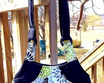 Green White Butterflies - Adj Strap, Hipster, Purse, Shoulder Bag, Across Body, Hands Free, Lots of Pockets
