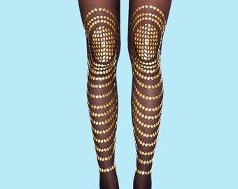 Gold printed tights available in S-M, L-XL, leggings, stockings, sheer tights
