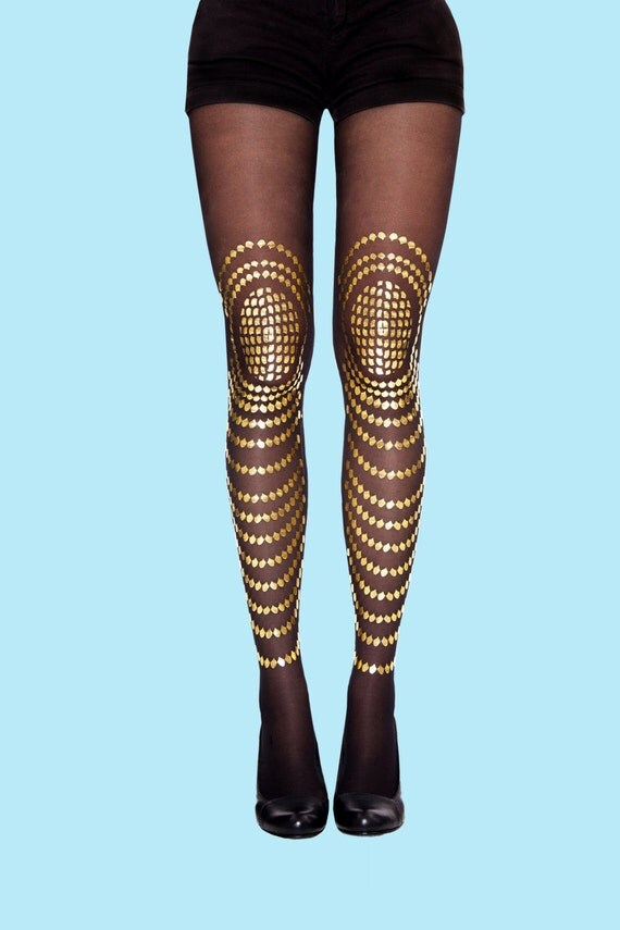 Christmas sale! fashion tights, gold printed tights available in S-M, L-XL, leggings, stockings, sheer tights