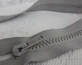 "17"" Gray IDEAL Molded Plastic Separating Zipper, 17 inch Jacket Zipper, IDEAL Gray Zipper, Gray Coat Zipper, Craft Zipper, Gray Zipper"