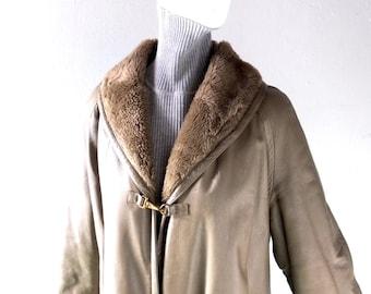 Bonnie Cashin Olive Green Leather Car Coat - 1960s Winter Chic - Classic Cashin Silhouette - MED to L 4 6 8 - Sills Design Shawl Collar