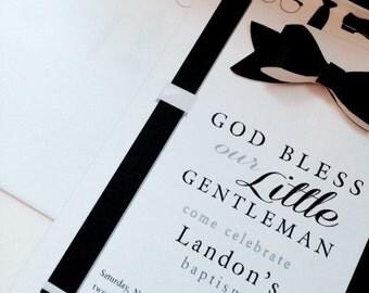 Bow Tie Invitation // Birthday Boy Invitation // Baby Boy Shower Invite // Baptism Boy Invitation