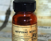 ANTIPYRIN MERCK, antique medical amber bottle c. 1965, apothecary, pharmacy, display, home decor, coolvintage, photography prompt, 2018