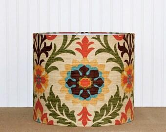 Southwestern Drum Shade - Lamp Shade - Floral Lamp Shade - Lampshade - Rustic Drum Shade - Pendant Shade - Fall Decor - Drum Shade - Modern