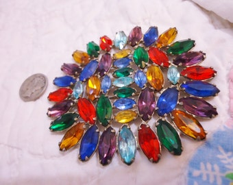 Gorgeous Vintage Retro Old Hollywood Multi Color Rhinestones Large Brooch