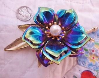 Vintage Retro Mid-Century Iridescent Blue Metal Flower Brooch