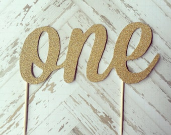 ONE Gold Glitter Cake Topper First Birthday