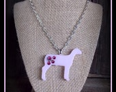 Pink Glass Show Sheep Pendant With Silver Chain