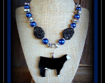 Black Baldy Glass Show Steer Pendant With Beaded Necklace