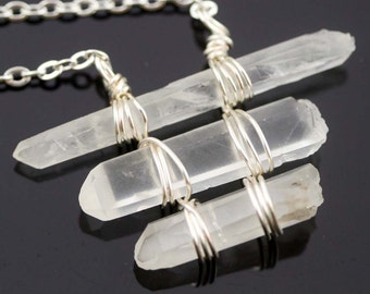 Purify raw crystal points necklace - frosty clear (B) (RS)