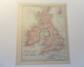 Small Vintage Map of The British Isles