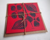Block-Printed Cards/Envelopes, printed by hand, Dogwood Design with Indigo ink