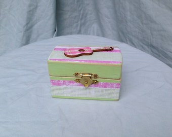 Pink Guitar, Girl Rocker, Wood Box, Jewelry Box, Trinket Box, Toothfairy Box, Ring Box