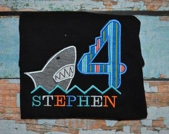 Shark Birthday Shirt, Boys Shark Birthday Shirt, Boys Birthday Shirt, Shark Bite Birthday Shirt