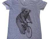 Womens Koala on a Bicycle - Ladies Athletic Grey American Apparel T Shirt