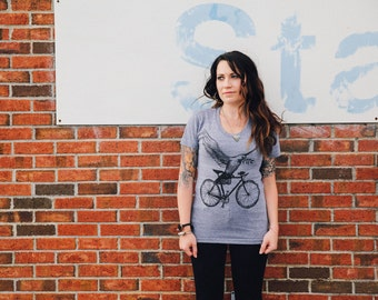 Peace Dove on a Bicycle - Womens T Shirt, Ladies Tee, Tri Blend Tee, Handmade graphic tee, sizes s-xL