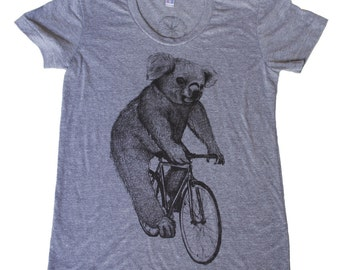 Koala on a Bicycle - Womens T Shirt, Ladies Tee, Tri Blend Tee, Handmade graphic tee, sizes s-xL