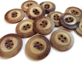 Vintage Plastic Buttons with Wood Grain - 6 Sew Through Blazer Coat 7/8 inch 22mm or 5/8 inch 15mm for Sewing Knitting