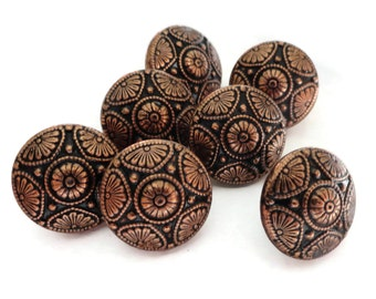Vintage Metal Buttons - 6 Copper Tone Star Blazer Buttons 5/8 inch 15mm for Jewelry Supplies Beads Sewing Knitting