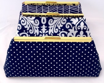 Bridesmaids Gift Set of (3) Navy and Gold Bridesmaid Clutches in Design your own set for bridesmaids in various patterns and shades of blue