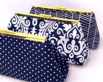 Bridesmaids Gift Navy Blue Handbag Bridesmads Gift Clutch with Gold Frame accent - Design your Own for your wedding Party