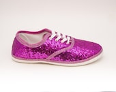 Sequin | Starlight Tiny Sequin CVO Hot Fuchsia Pink Canvas Sneaker Tennis Shoes