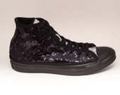 Tiny Sequin | Starlight Two Tone Black with Silver Tongue Custom Converse Canvas Hi Top Sneakers Shoes