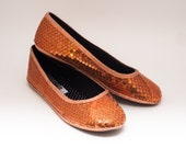 Ready 2 Ship | Youth Size 4 Sequin Custom Orange Ballet Flats Slippers Shoes