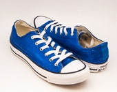 Ready 2 Ship | Size 8 Womens Brilliant Sapphire Blue Sequin Converse Low Top Sneakers Shoes