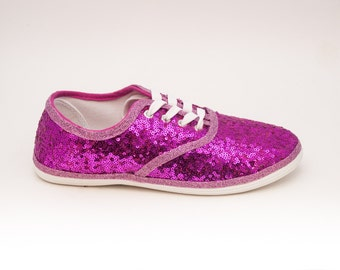 Sequin | Starlight Tiny Sequin CVO Hot Fuchsia Pink Canvas Sneaker Tennis Shoes