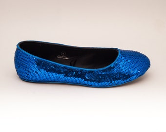 Sequin | Custom Sapphire Bue Ballet Flats Slippers Shoes