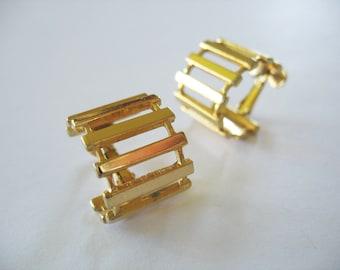 Napier Hoop Earrings Ladder Design Goldtone Screwbacks 1980s