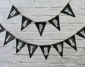 Happy Birthday Chalkboard Style Banner, bunting, photo prop party backdrop decor sign