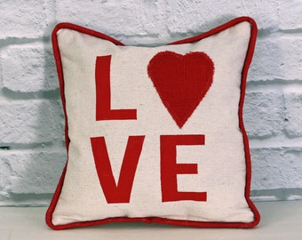 Handmade Love Pillow Canvas Bolster Cushion Hand Painted Red Letter Red Burlap Heart Red Burlap Piping