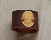 Vintage sewing machine label Victorian steampunk inspired leather cuff bracelet