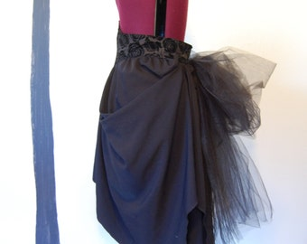 Victorian steampunk gothic Black belt bustle with tulle.