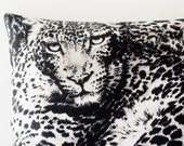 Black & White Cat Pillow, Cotton Anniversary Gift for Her, Leopard Print Aromatherapy Pillow Cat Decor