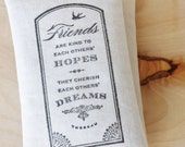Literary Gift, Thoreau Friends Quote Botanical Sachet, Friendship