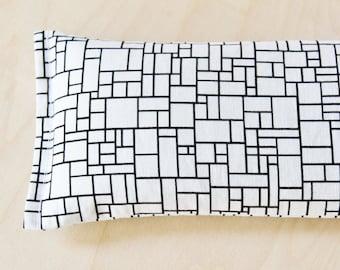 Lavender Eye Pillow - Flax Heating Pad - Art Teacher Gifts - Black & White Geometric