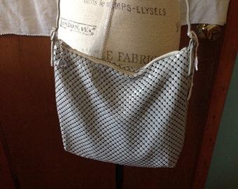 Vintage grey metal mesh handbag