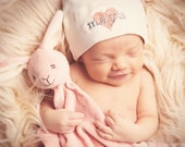 Personalized Heart Baby Knot Hat  -  American Apparel - You choose the colors