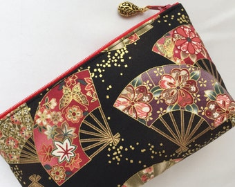 Japanese Folding Fan & Confetti  Cosmetic Purse / Zipper Pouch