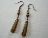 Bronze Metallic Dangle Earrings