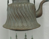 Tinned Copper Swirl--Delightful antique teapot given new life as a Windchime