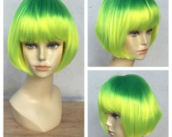 Ready to Ship Lemon Drop Yellow and Green Shake and Go Costume Wig