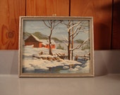 Vintage Winter Paint By Number In Gray Wood Frame  9 by 11 inches  Beautiful!!