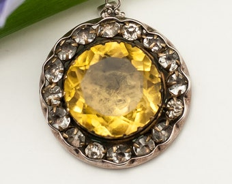 1930s Yellow Stone Rhinestone Paste Pendant