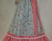 Girls Dress 5/6 Paws and Play Walk The Dog Pink and Blue Handmade Boutique Pillowcase Dress Pillowcase Dress Sundress
